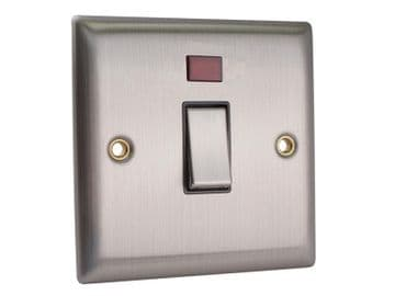 DP Neon Switch 20A Brushed Steel